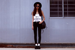 Vu Thien - Boned Tank Top, Zara Jeans, Red N Bold Sunglasses, T.U.K Creepers, Thrift Store Backpack - HOT WINTER