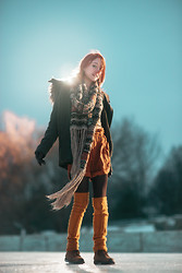 Fox Fräzier - New Red Hair!, H&M Ski Scarf, Sparkle And Fade Mustard Shorts, Forever 21 Sweaters For Legs. - Autumn Fox in Winter.