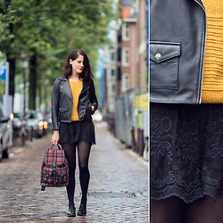 Renée Sturme - Sandro Biker Jacket, Topshop Lace Shorts, Accessorize Backpack - Pops