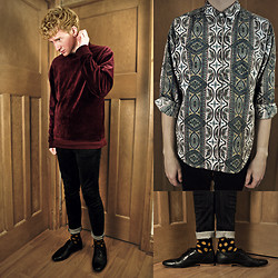 Robbie Cook - American Apparel Jumper, Cheap Monday Jeans, Vintage Shirt, Asos Shoes - Red Velvet