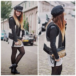 Wendy Van Soest - H&M Cap, New Look Leopard Clutch, H&M Gilet, H&M Shoes, H&M Dress - H&M Paris Collection