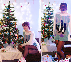 Chris Gentner - Vintage Pengiun Sweater, New Look Glitter Tights, New Look Cosy Slipper Boots - Cosy christmas sweater time