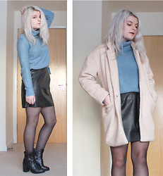 Robyn Mayday - New Look Pu A Line Skirt, Hidden Fashion Boots, H&M Roll Neck, Persun Pink Coat - Powder Blue