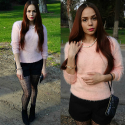 Terry Berry - Forever 21 Shag Sweater, Forever 21 Shorts, Nine West Booties - Blush of Pink