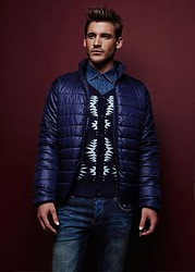 Eric M - American Eagle Blue Padded Coat, White Stagg Blue And Sweater - Return of the Christmas Sweater