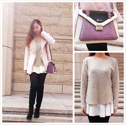 Julius Zhu - Guess? Mixed Color Purple Bag, Forever 21 Nude Sweater, Emoda White Buttom - Merry Christmas!What u wear today?
