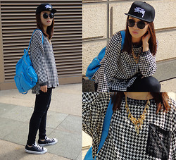 Rika J. - Stüssy Cap, Selina Kuo X Rica Juang Houndstooth Print Top, Le Junev Leather Backpack, Converse - Houndstooth