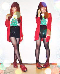 Erika R. - Old Navy Christmas Tree Print Tee, Forever 21 Sequin Shorts, Darlington Sheer Stockings, Darlington Black Socks, Dr. Martens Oxblood Vintage 1460 Made In England, Urban Outfitters Ring To Wrist Bracelet, Mango Red Cardigan - Happy Christmas!