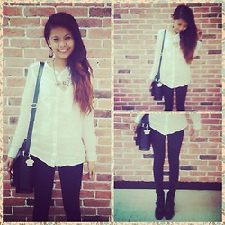 Diana Del Fuerte Marcos - Giordano White Long Sleeves Polo, Zara Black Skinnies, Forever 21 Black Ankle Boots, Parisian Black Satchel Bag - Blurring the Lines Between Black and White