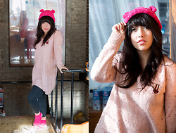 Lexi S. - Redeye Bear Beanie, 8ight Seconds Pink Confetti Oversized Sweater, Forever 21 Black Leggings - A Pink Winter Cozy