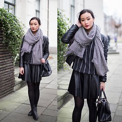 Levi Nguyen - Striped Pullover, Leather Skirt, Houndstooth Scarf, Embroider Jacket - HOUNDSTOOTH | Merry Christmas everyone!