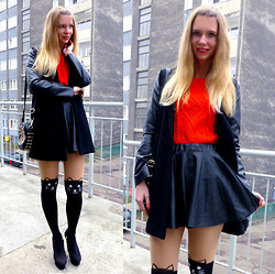 Ania Zarzycka - Foymall Sweater, Foymall Tights, Udobuy Skirt, Sheinside Coat, Ecugo Bag - Meow! (Giveaway on my blog)