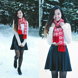 Zoe B. - J. Crew Scarf, Forever 21 Crop Top, Forever 21 Skirt, G.H Bass Shoes - WRAPPED IN RED