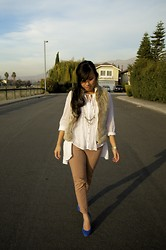 Alex Nguyen - Free People White Blouse, Gap Cropped Pants, J. Crew Blue Pumps, Thrifted Faux Fur Vest - Faux Fur