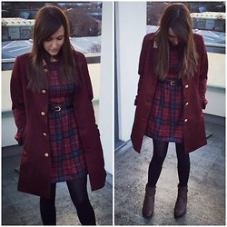Gabby P. - Miss Patina The Lady Coat (Maroon), Ark Tartan Lotti Skater Dress, Boohoo Flora Buckle Detail Ankle Boots - Tartan love