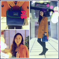 Julius Zhu - Guess? Guess Bear Bag, Forever 21 Navy Stockings - Let's rock the shining way!