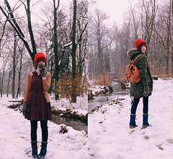 The Clothes Horse R - Red Hat, Shop Ruche Parka, Modcloth Cardigan, Polka Dress, Modcloth Tights, Backpack - Snow Day