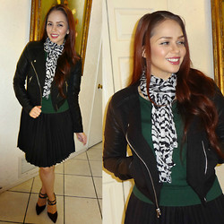 Terry Berry - Charlotte Russe Faux Leather Moto Jacket, Charlotte Russe Studded Ankle Strap Heels, H&M Forest Green Sweater - Down the Chimney