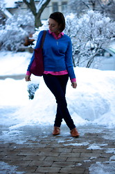 Raquel J - Tommy Hilfiger Pink Collared Shirt, Tommy Hilfiger Blue Sweater, Longchamp Raspberry Tote - Brighten Up Winter