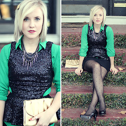 Hales Titus - Forever 21 Black Sequin, The Limited Button Up - Emerald City