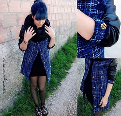 Amorette ❤ - Scarf, Created By Me Blue/Black Coat, Created By Me Black Dress, Creepers - Casual ♥