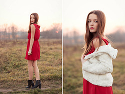 Emma Istvanffy - In Love With Fashion Dress, H&M Boots, H&M Fur Coat - Red Love