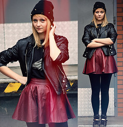 Marzena K. - Sammydress Leather Maroon Skirt, Tk Maxx Leather Black Jacket, Animals' Wave Diy Isis Theme Blouse, No Name Studded Sneakers, Hukk Studded Beanie - Drunk in love