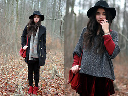 Anne M - Mango Coat, Urban Outfitters Scarf, H&M Jumper, Chic Wish Velvet Skirt - The winter is calling