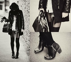 Camille Lessieux - Vintage Bag, Sheinside ''Bi Matiere'' Coat, H&M Boots - Back to black