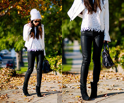 Jenny Ong - True Religion Leather Jacket, True Religion Coated Skinnies, Sigerson Morrison Boots - Monochrome