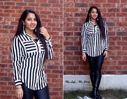 Harija Ravi - Vintage Stripe Blouse, H&M Leather Pant, Ardene Twinkle Earrings, Express Set Of Bracelets, George Collection Black Boots - Road To Sucess