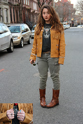 Morgan Zakarin - Ralph Lauren Ram's Head T Shirt, Ralph Lauren Leather Fringe Jacket, Ray Ban Aviator Flash Lens, The Frye Company Boots, Buffalo David Bitton Army Cargo Pants, Express Leopard Print Belt, Nasty Gal Turquoise Bird Necklace - Rustica