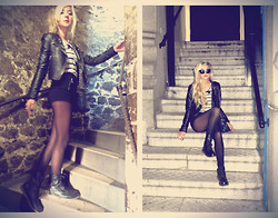 Alexa Villa - H&M Leather Jacket, Forever 21 Striped Sweater, H&M High Waisted Zipper Shorts, Dr. Martens Combat Boots - Tower of London