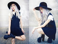 Eugénie Grey - Unif Charlotte Dress, Unif Lore Hat, Unif Salem Boot - Modeling all UNIF for MLTD