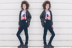 Sarah Jay - Howdoirock The Weeknd Crop Top Tank, American Apparel High Waist Skinny Jeans, Mcphoebe 90s Studded Grunge Style Platform Boots, Storenvy Charcoal Oversized Sweater - Everybody's Werkin' For The Weeknd (aka: Abel Tesfaye)