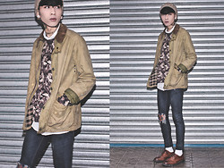 IVAN Chang - Asos Cap, Barbour Vintage Jacket, Topman Flower Sweater, Topshop Blue Skinny Jeans, While Oxford Shoes - 291213 TODAY STYLE
