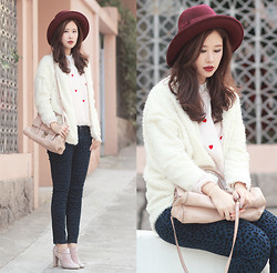 Mayo Wo - Tie Rack Burgundy Hat, Romwe White Cardi, Yesstyle Embroidered Heart Top, Miu Craquele Bag, Free People Leopard Jeans, Valentino Pale Pink Boots - Love you a lottle, it's like a little, except a lot