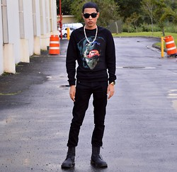 Wesley X. Torres - 21 Men Long Sleeve, 21 Men Black Jeans, 21 Men Black Boots - Urban Outfit