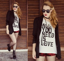 Talitah Sampaio - Chic Wish Sunnies, Vintage Blaizer, Ufreakb Tee, Bad Liten Hot Pants, Choies Boots - All you need is Love and Poison