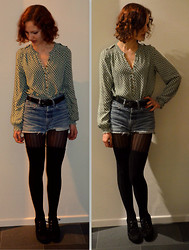 Poppy Lee Jones - Primark Blouse, Thrifted Belt, Levi's® Shorts, Tights, H&M Stockings, Vagabond Wedges -  good times never seemed so good