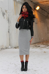 Alexandra C. - H&M Tartan Scarf, Forever 21 Leather Jacket, Akira Chicago Midi Knit Dress, Zara Leather Heeled Boots - Changes