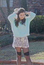 Chloe Ruth - Urban Outfitters Bdg Cropped Sweater, Ivy & Leo Lace Shorts, Urban Outfitters Tights - In december, still no horchata