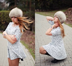 Natalia Kędziora - Tkmaxx Baroque Skater Dress, Six Swarowski Crystals Plastic Bracelet - Baroque skater dress and fur hat