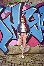 MiKu Fashion - Vintage Pants, Vintage Glitter Blazer, Asos Oxfords - Pink pants