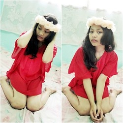 Andita Luan - Diy Flowers Crown, Forever 21 Red Dress - Christmas Eve??