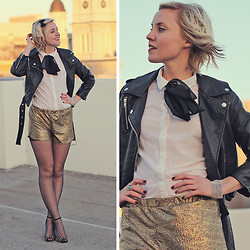 Hales Titus - Schutz Studded Heels, Urban Outfitters Metallic Shorts, Moto Jacket, H&M Button Up With Black Bow - Sun Hands