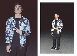 Ezekiel Vejerano - Forever 21 Clear Glasses, Mastermind Mla Floral Jacket, F&H Slim Fit Black Chino, Ice Watch, Nike Air Jordan Iv - Christmas Bloom