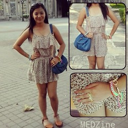 Medelyn Aligan - Tomato Leopard Romper, Secosana Chained Sling Bag, Green Berries Onlineshoppe Peace Ring - Leopard Sesh