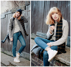 Typhaine - Urban Outfitters Beanie, Monki Coat, New Look Sweater, Urban Outfiters Scarf, A.P.C. Jeans, Adidas Shoes - Stan Smith