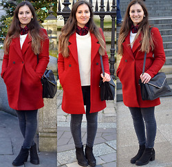 Bianca . - Zara Coat, Urban Outfitters Boots, Zara Bag, Zara Plaid Shirt, Bershka Sweater - RED COAT